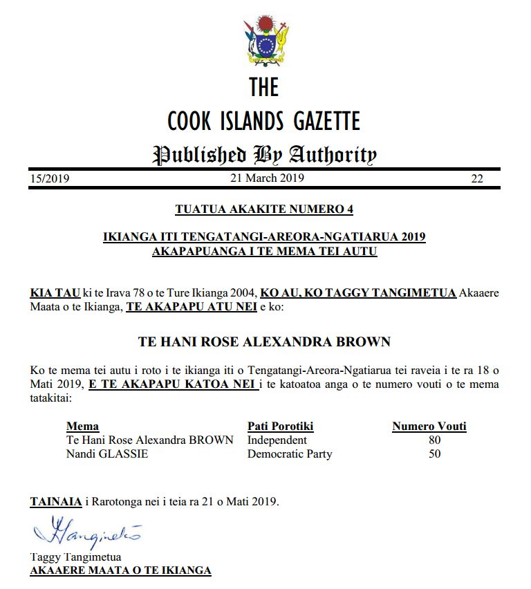 Elections - Cook Islands - Ministry of Finance and Economic Management